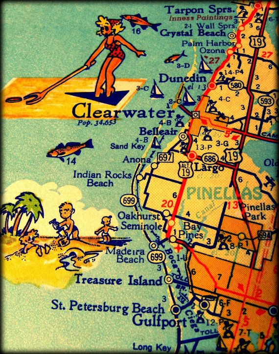 Map Of Florida Clearwater.Color Map Photograph Clearwater Dunedin Retro Florida Print 11x14