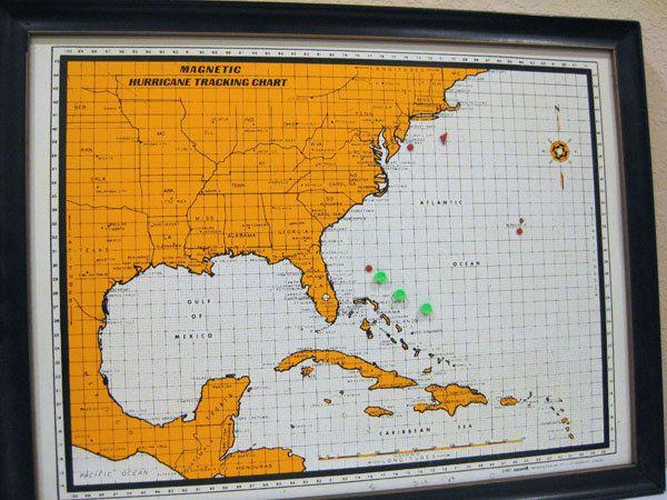 Vintage Map - Magnetic Hurricane Tracking Chart - 1967 - Merit