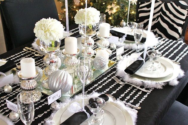 Black White Silver Holiday Table Christmas Table Decorations Elegant Christmas Christmas Table Centerpieces
