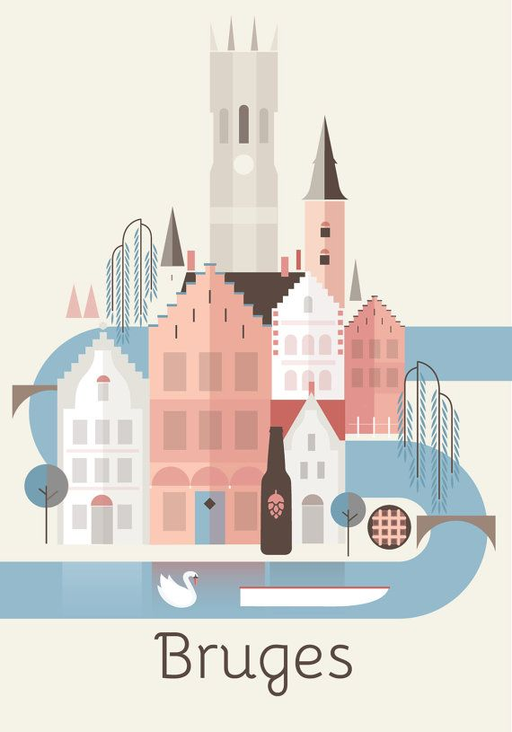 Vintage Bruges Belgium Tourism Poster A3//A4 Print