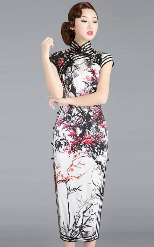 268838cb47 Chinese black and white watercolor painting cherry blossom qipao cheongsam  dress | www.ModernQipao.com