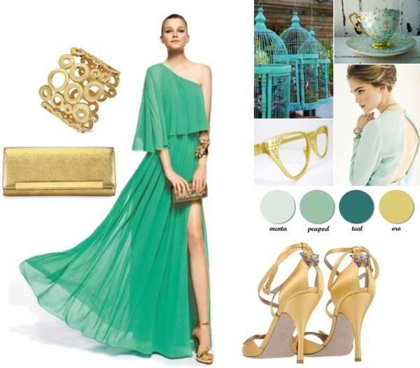 Vestido blanco y dorado verde