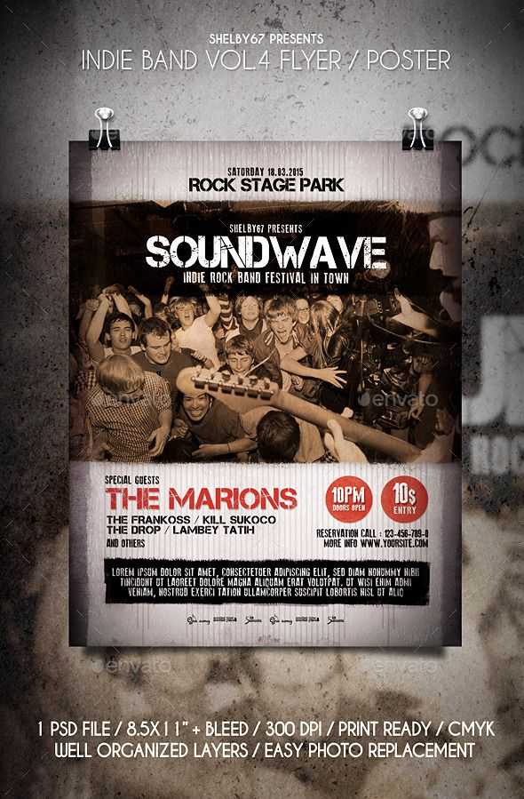 Indie Band Flyer  Poster Vol  Indie Flyer Template And Typography