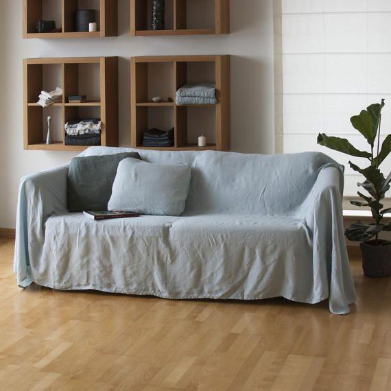 housse de canapé lin, couvre-lit lin naturel canapé housse, jeté