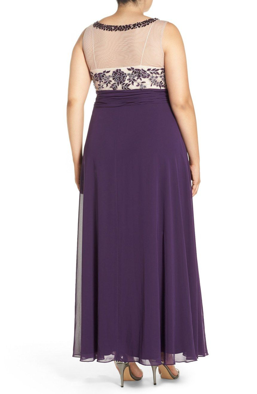 Xscape Beaded Illusion Bodice Empire Waist Gown (Plus Size) | Nordstrom