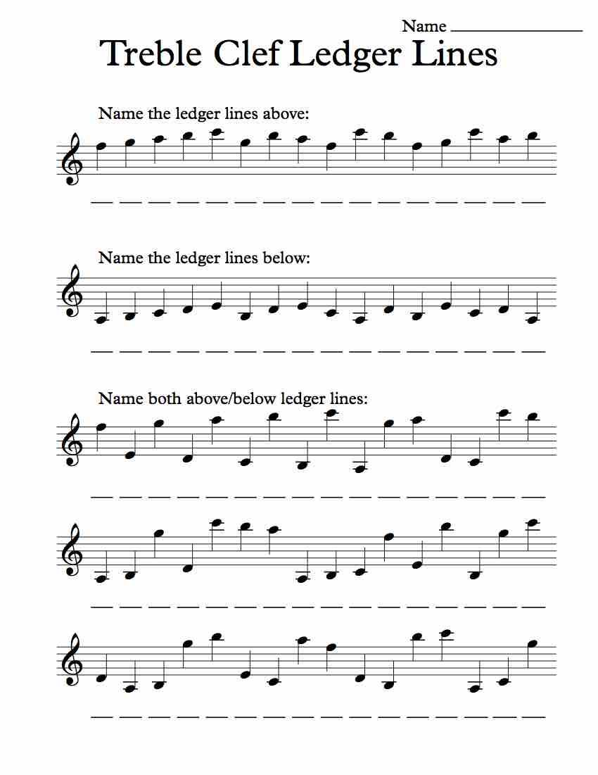 Uncategorized Note Values Worksheet treble clef ledger lines worksheet music worksheets free note recognition worksheet