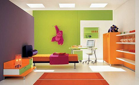 The green wall and the purple wall and the orange for Orange and purple walls