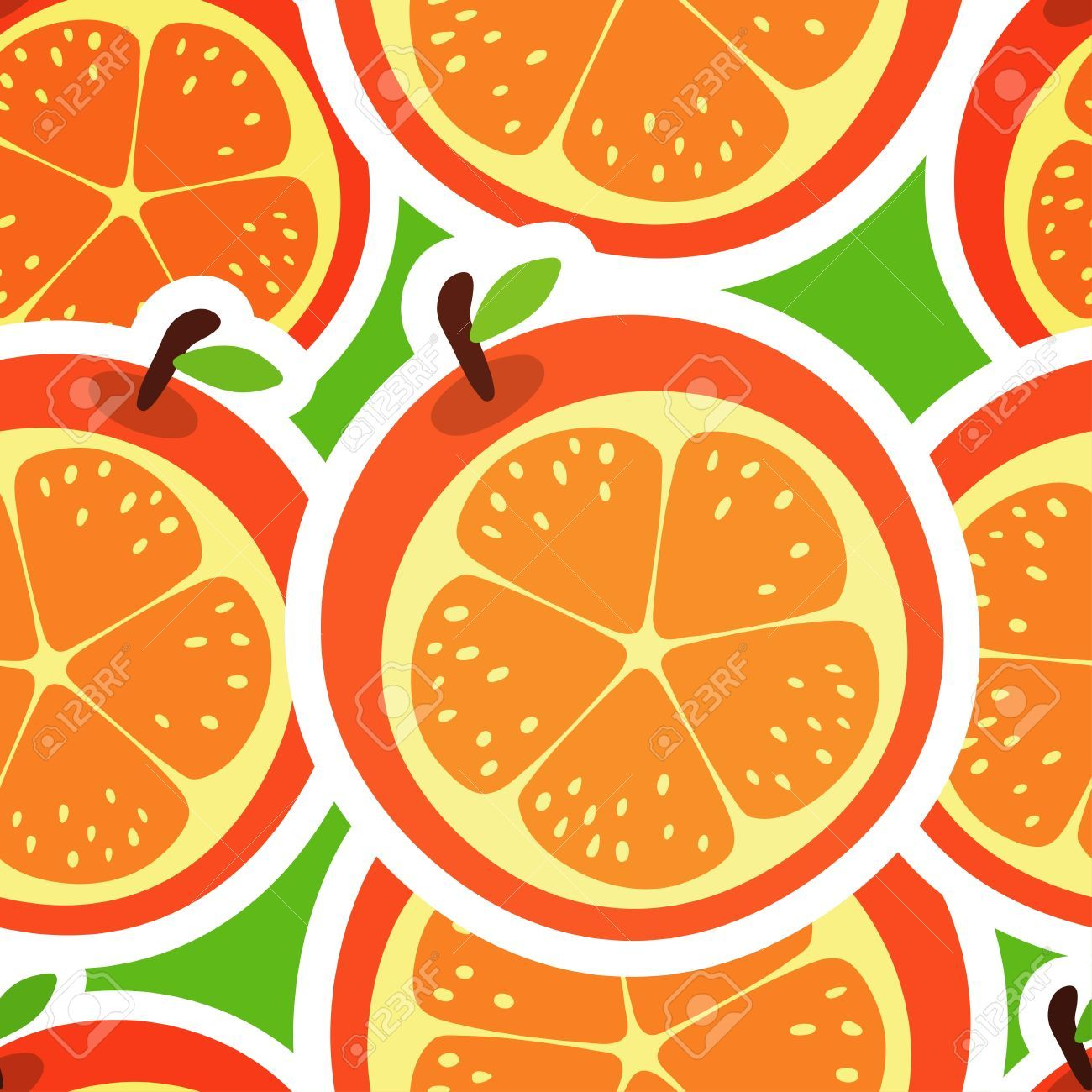 Orange Abstract Seamless Pattern With Fruits Royalty Free Cliparts ...