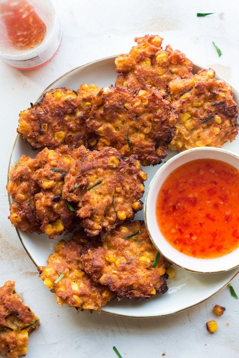 Vegan Thai corn fritters - Lazy Cat Kitchen