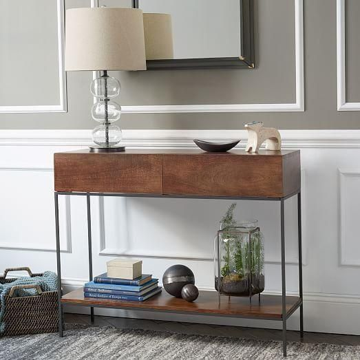 West Elm Rustic Storage Console Table Modern Furniture Living Room Rustic Sofa Tables Furniture