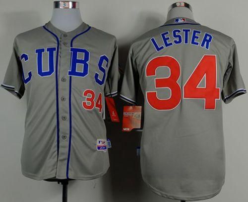 "$23.88 at ""MaryJersey"" (maryjerseyelway@gmail.com) #34 Jon Lester - Cubs Grey Cool Base Stitched Baseball jersey"