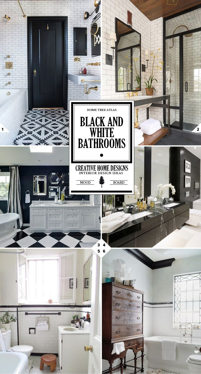 Black and white bathroom decor - The Classic Look Black And White Bathroom Decor Ideas