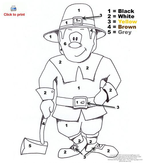 thanksgiving coloring pages with numbers - pilgrim color by number preschool ideas pinterest