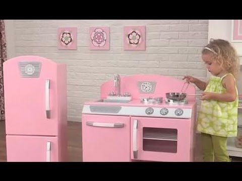 Girls Pink Retro Play Kitchen And Fridge Role Play Toys KidKraft 53260    YouTube