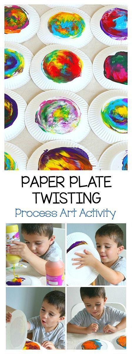 Paper plate twisting process art activity for kids - Maltechniken kindergarten ...