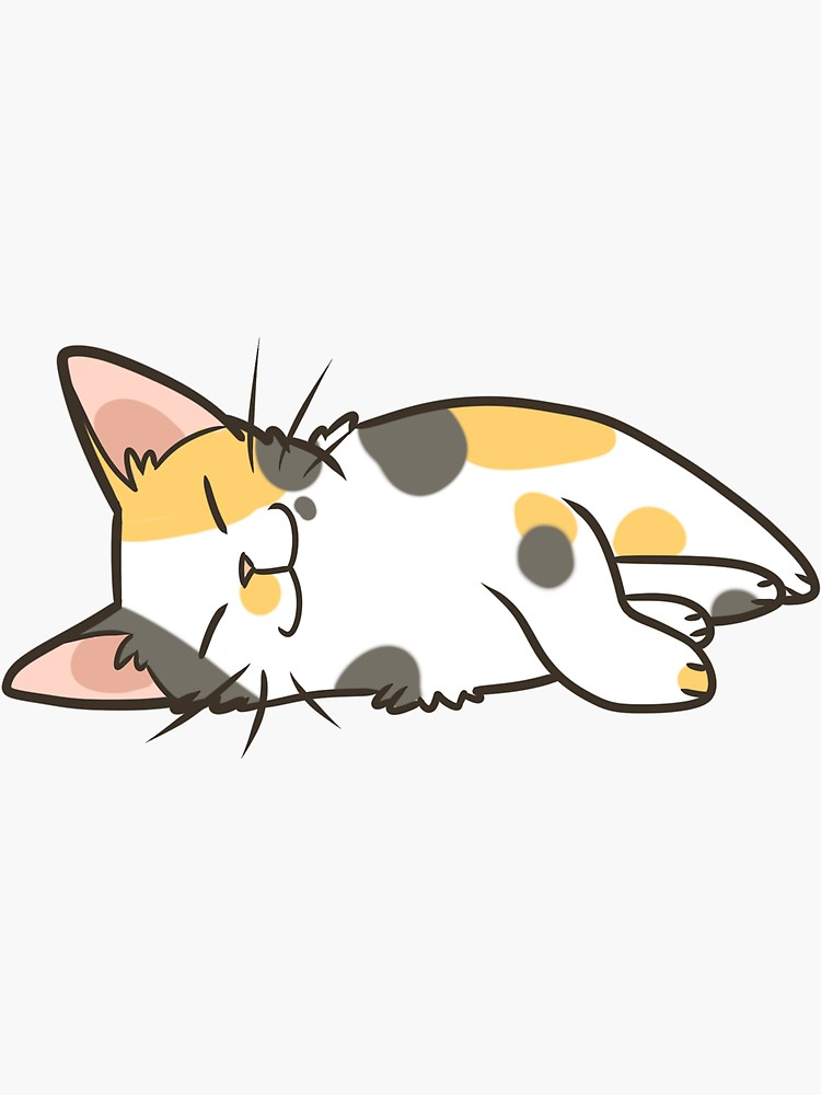 Sleeping Calico Sticker By Pawlove In 2021 Cat Graphic Art Cute Cat Drawing Cat Artwork