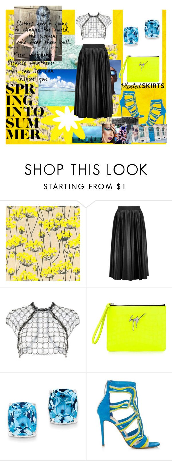 """""""blueted"""" by artwithmode ❤ liked on Polyvore featuring Le Specs, Lanvin, Fannie Schiavoni, Giuseppe Zanotti, Kevin Jewelers, Peter Pilotto and pleatedskirts"""