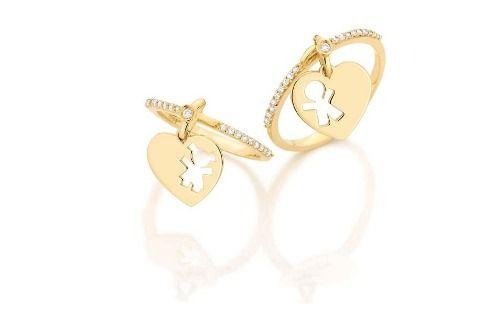 Anel Pingente Menino Ou Menina Em Ouro 18 Quilate E Diamante - R  799,00 7e36227dbd