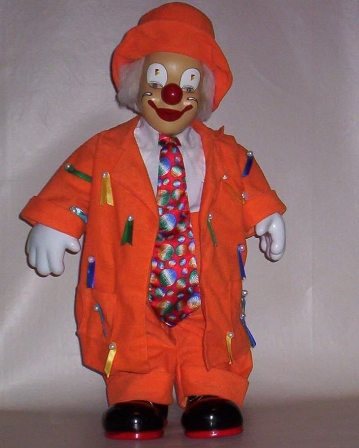 1980s Doll Harlequin Jester Pierrot Clown Mime 25 inch Hand Painted with Bisque Face Costume