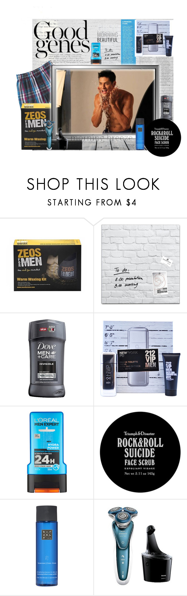 """""""Good genes"""" by sasane ❤ liked on Polyvore featuring Carolina Herrera, L'Oréal Paris, Triumph & Disaster, Rituals, Philips Norelco, men's fashion and menswear"""