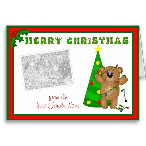 Teddy Bear Tangled in Christmas Lights Photo Card