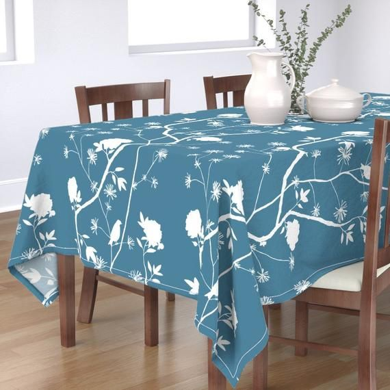Chinoiserie Tablecloth - Simple Peony On Pool Blue by domesticate - Bird  Blue Peony Asian Inspired  Cotton Sateen Tablecloth by Spoonflower #bluepeonies