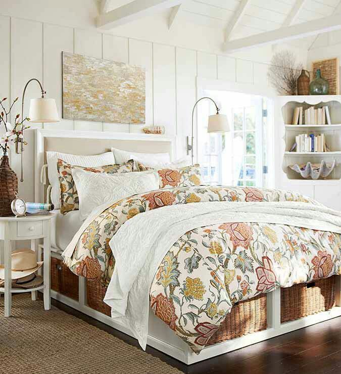 Pottery Barn Wall Lamps And Bedding Small Bedroom Bed