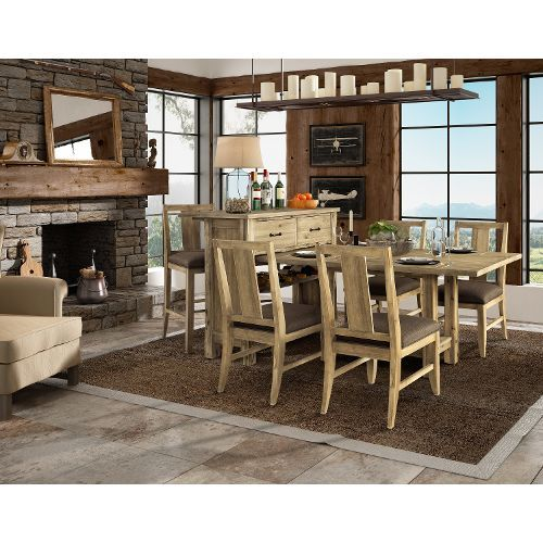 Natural 8 Piece Dining Duo With Sideboard And Stools  Napa Inspiration 8 Pc Dining Room Set 2018