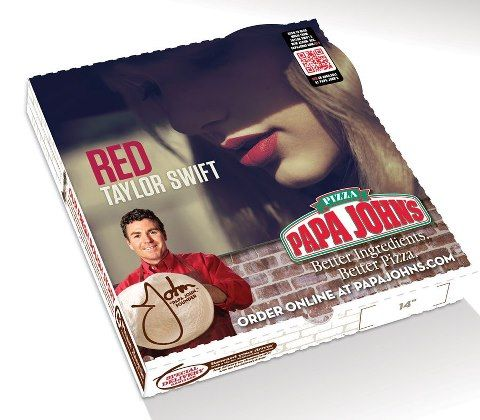 papa john pizza box Taylor swift red album, Taylor swift
