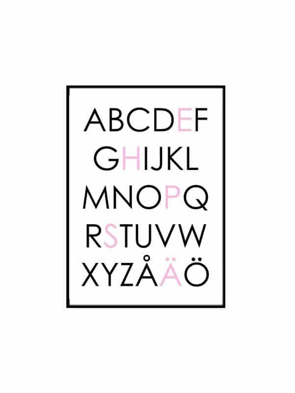 Poster – Alfabet svart/grått 21×30 cm passande till barnrummet för din tavla