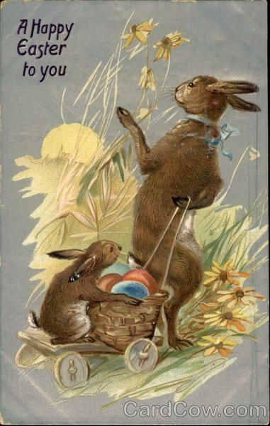Momma Bunny With Baby Delivering Easter Eggs Bunnies Postmark 1909 Apr 8