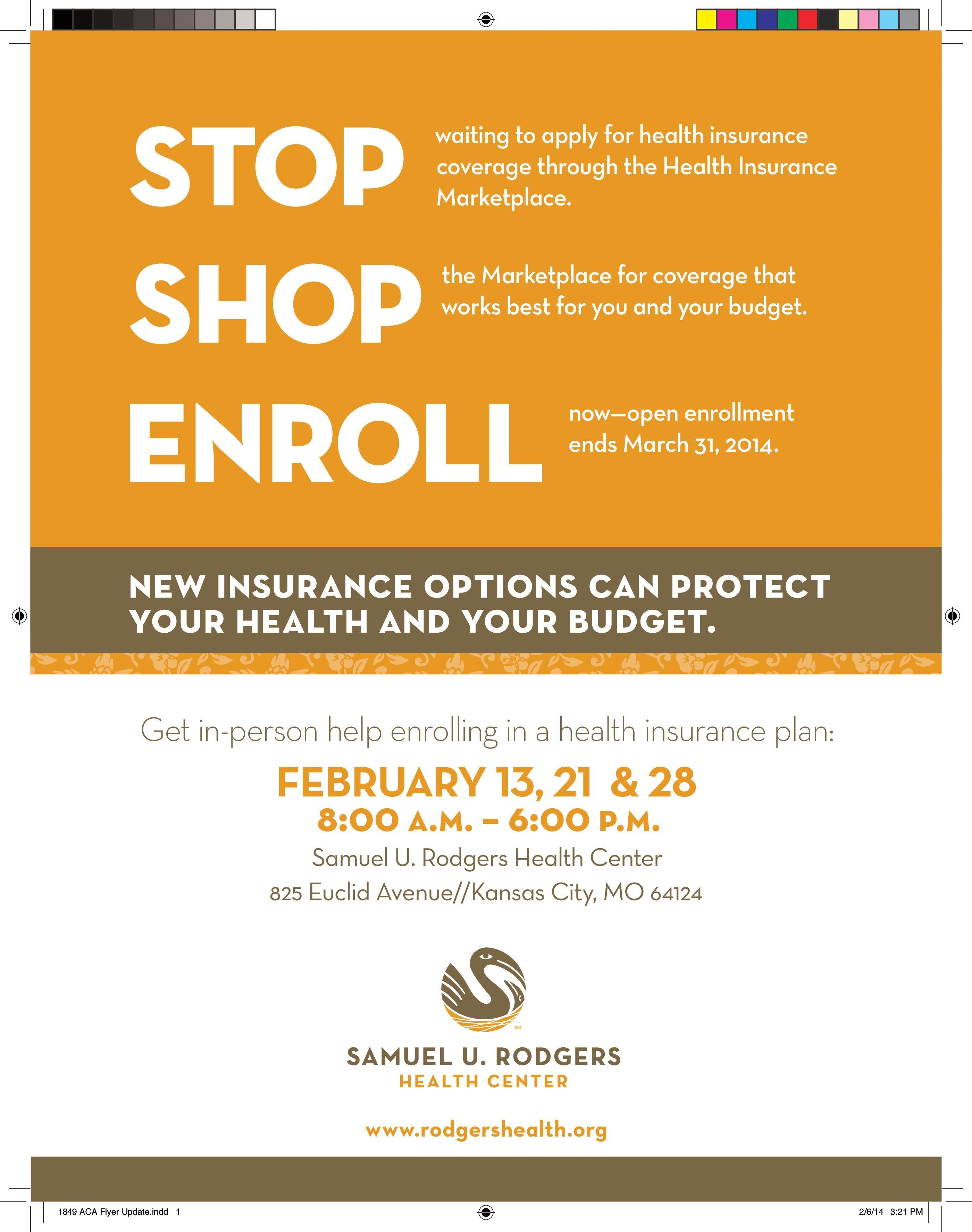 Flyer For Marketplace Enrollment Events At Samuel U Rodgers