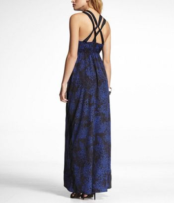 LEOPARD PRINT LATTICE BACK MAXI DRESS at Express