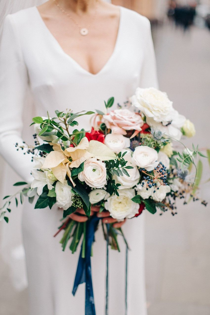 A festive sinspired london wedding winter bridal bouquets