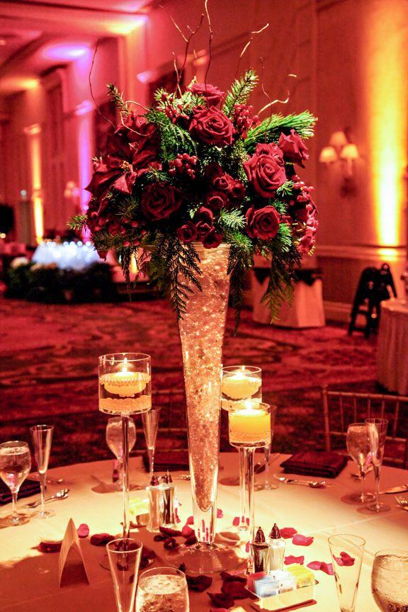 A dazzling red floral arrangement at a Walt Disney World wedding reception