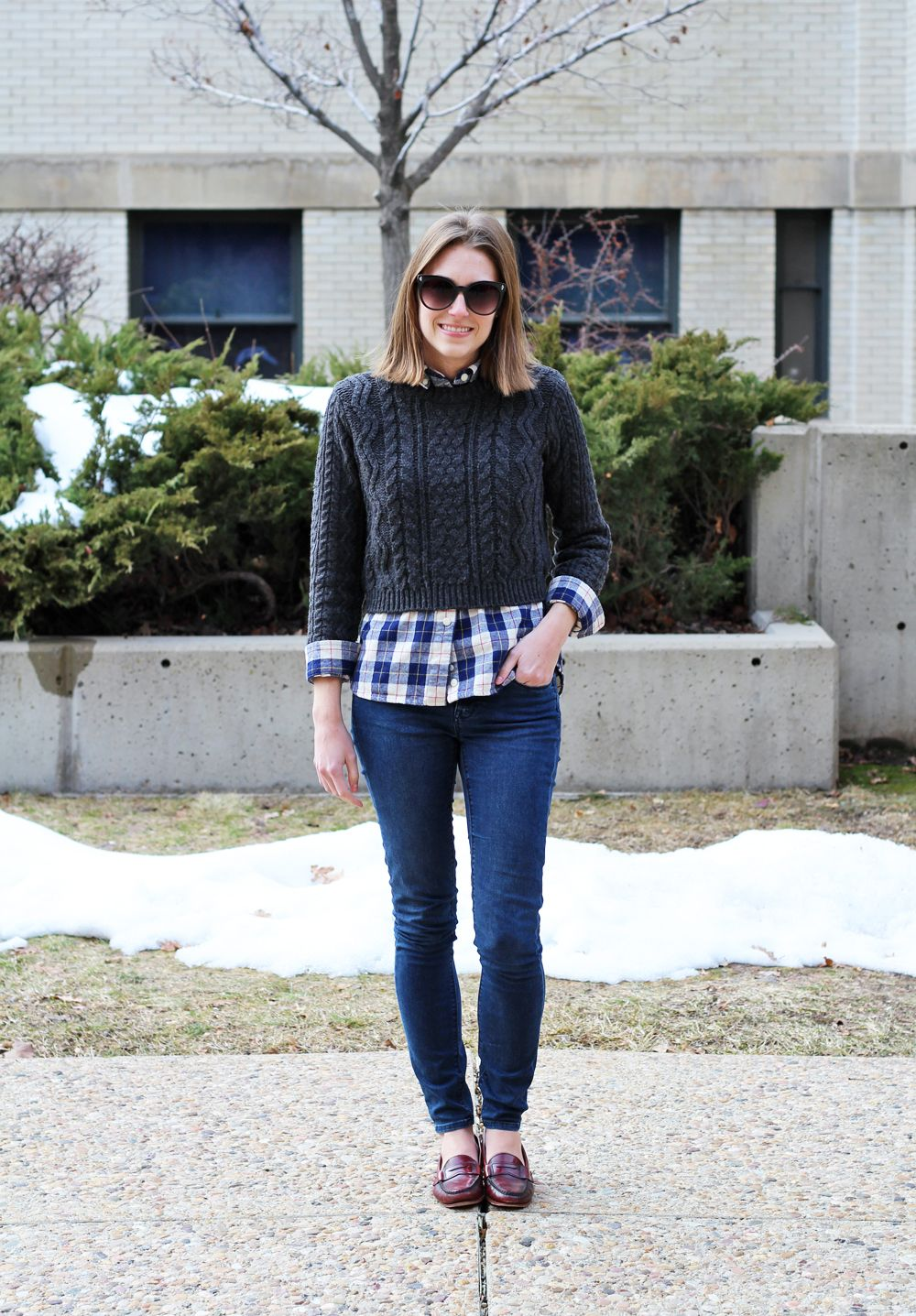 Cropped sweater over plaid flannel shirt 456b75a5a
