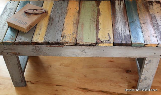 I finally remembered to take some pictures in process so thought I'd share a pallet bench/coffee table tutorial with you. You can use this same tutorial to make a pallet sofa table or step stool.
