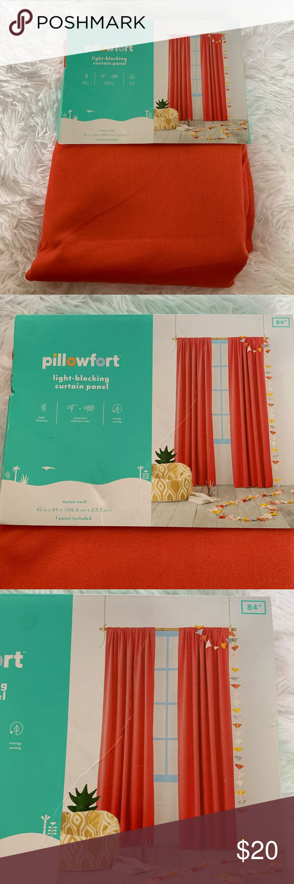 """NWT Pillowfort Light Blocking Curtain 42""""x84"""" NWT never been taken out of pa..."""