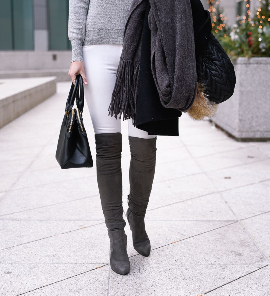 fcae58dd26d Grey suede over the knee boots with white skinny jeans!