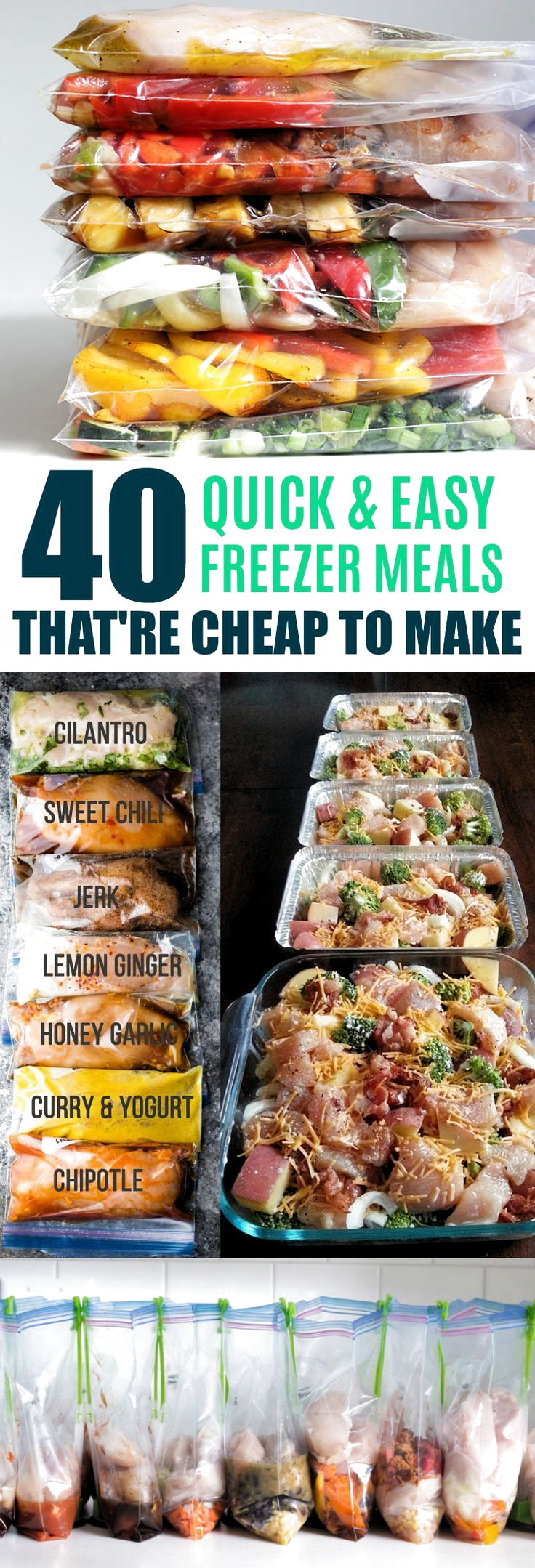 Meal Prep Recipes, Freezer Meals, Crock Pot, Instant Pot - 40 Quick Freezer Meal Prep Ideas that are Cheap to Make #crockpotmealprep