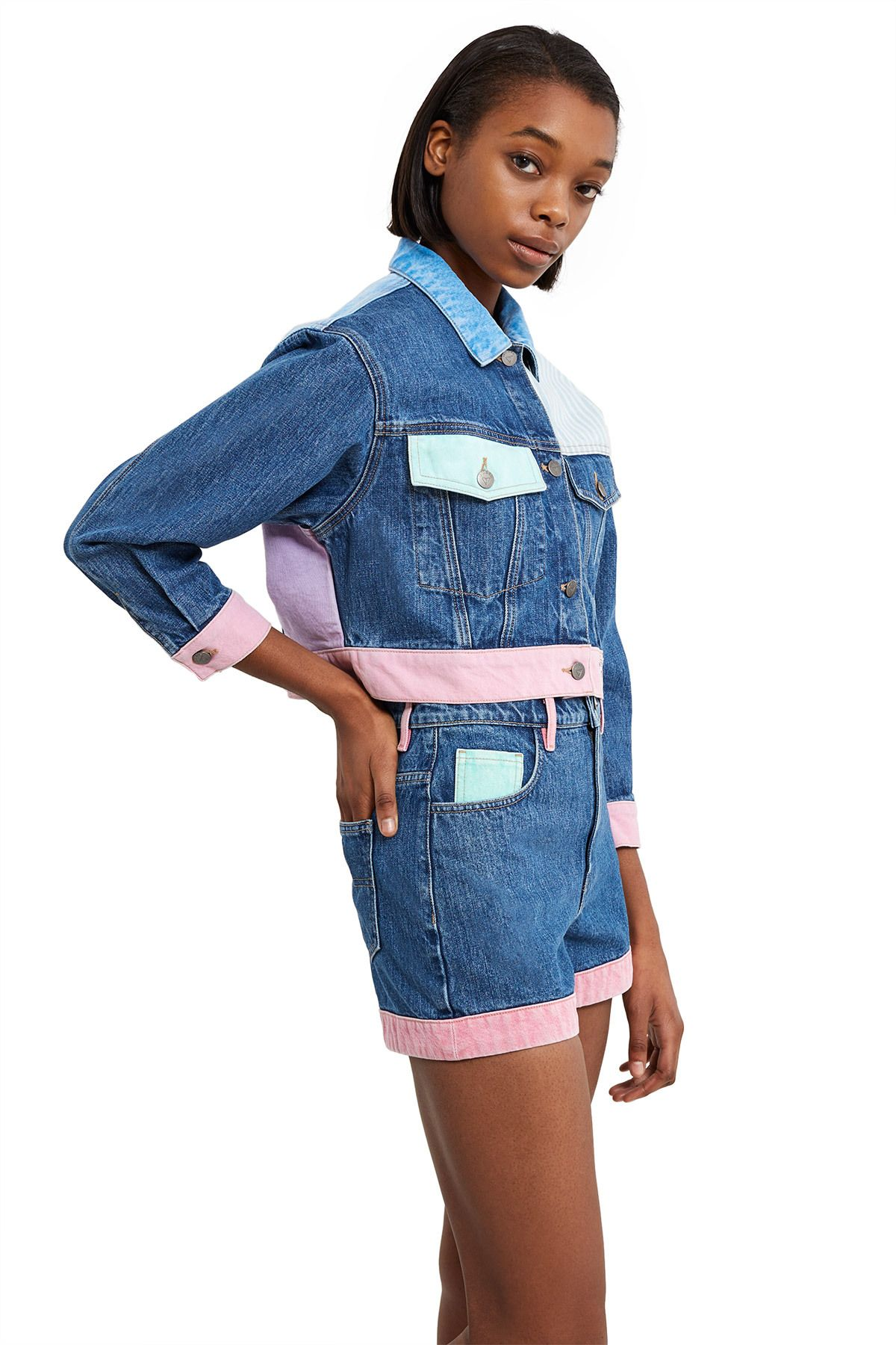 Guess Originals A Ap Rocky Cropped Patchwork Denim Jacket Note Due To The Nature Of The Fabric And Wash Denim Fashion Women Denim Inspiration Denim Fashion [ 1800 x 1200 Pixel ]
