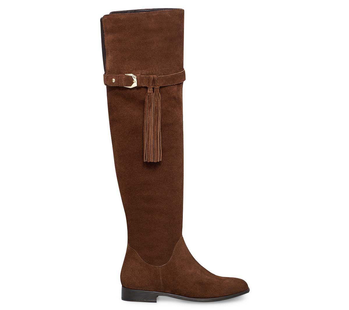 botte cuissarde croûte de cuir marron - bottes - chaussures femme