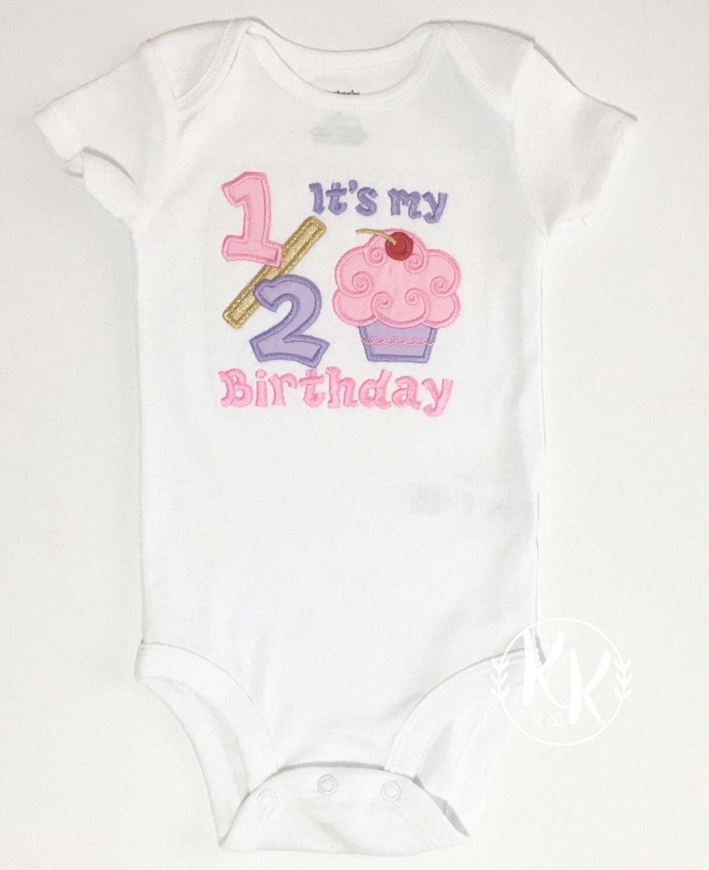 Half Birthday Shirt Cupcake Baby Girls Outfit