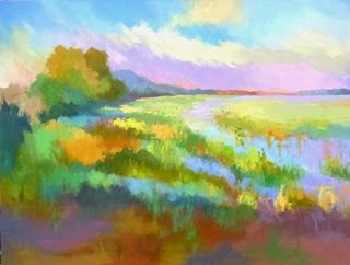 Landscape Artists International Marsh Grass Landscape Impressionism Landscape Spring Marsh B Georgia Artist Fine Art Painting Oil Spring Painting