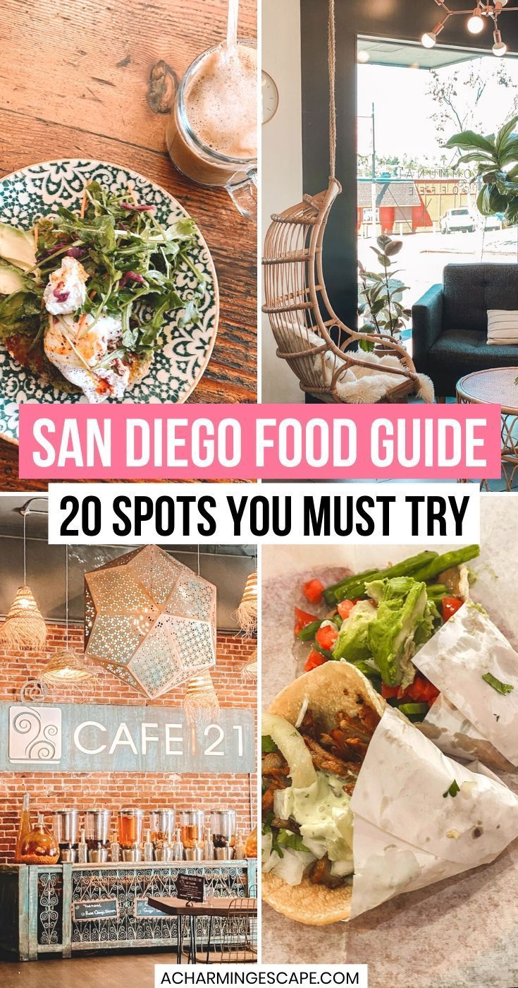 The city's food scene is diverse and incredible! You will find fine dining, trendy cafés and juice bars, some of the best breweries, authentic Mexican restaurants and many more in San Diego. This is an extensive list of 20 best places to eat and drink in San Diego including restaurants with amazing views and my favorite dishes to try!! San Diego Foodie Guide | San Diego California Food | Best restaurants  in San Diego | Best Drinks in San Diego | Where to Eat in San Diego