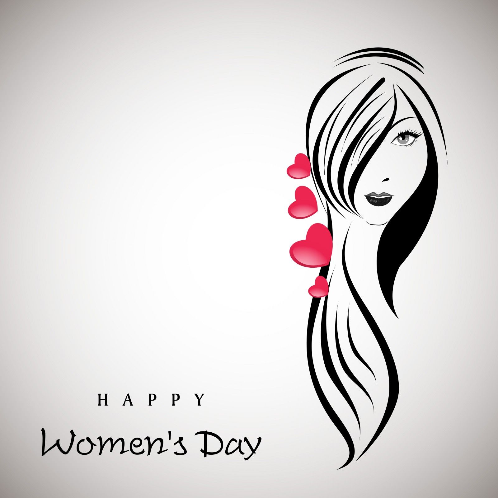 Happy Womens Day Greeting Card Beautiful Girl With Long Hairs
