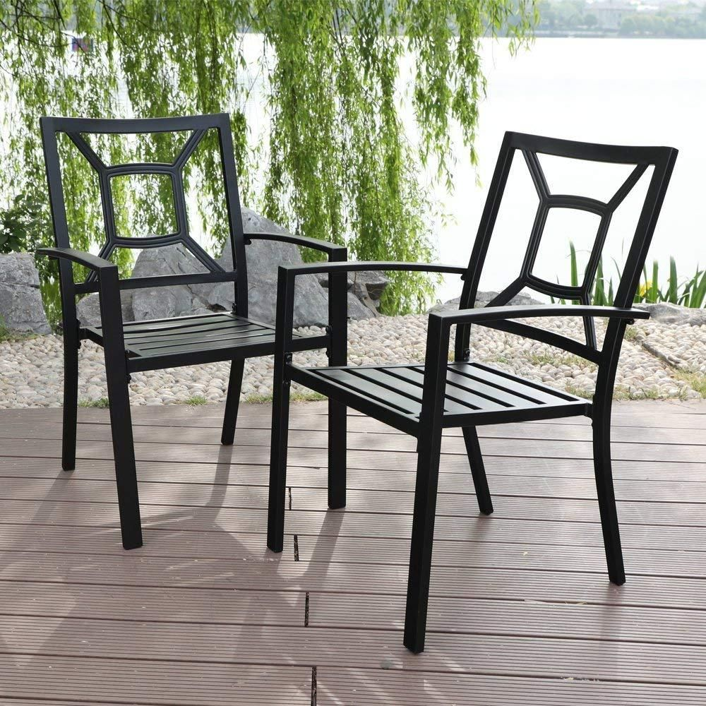 Fabulous Phi Villa Patio Steel Slat Seat Dining Arm Chairs Set C 2 Bralicious Painted Fabric Chair Ideas Braliciousco