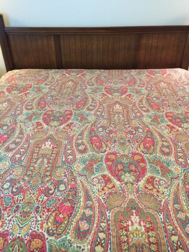 Pottery Barn ROSALIE FULL/QUEEN Duvet COVER WARM GREEN RED Paisley #PotteryBarn #FrenchCountry