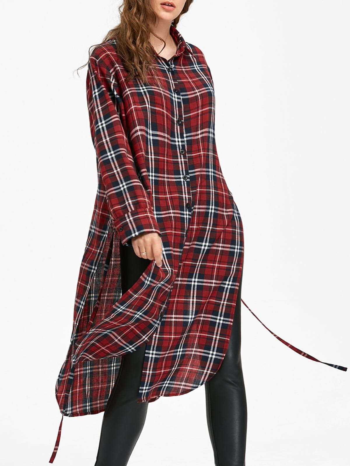 Long Sleeve Button Down Checked Dress With Tie Long Sleeve Dress Online Dress With Tie Casual Tunic Dress [ 1596 x 1200 Pixel ]