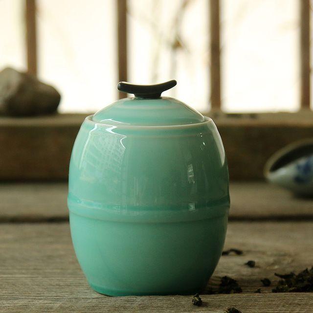 Ceramic tea jar, celadon storage tank, matt glaze, seal, teaset, teacaddy, tea can, storage tank, wholesale~
